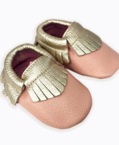 Peach + Gold Moccasins