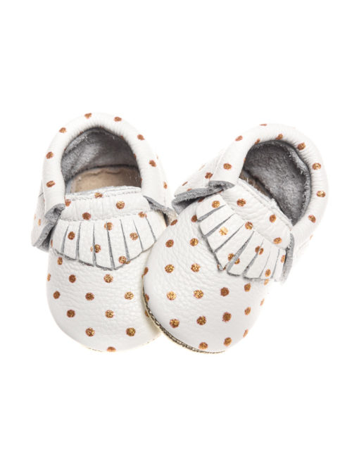 Cream + Gold Polka Dot Moccasins