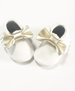 White Gold Bow Moccasins