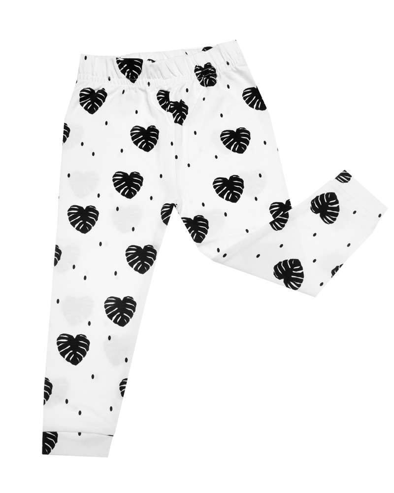 Organic Cotton Leggings Monochrome Monsterra Print