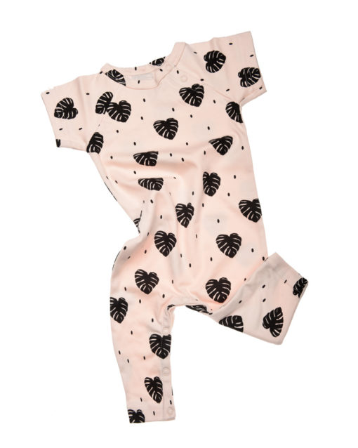 Baby Romper- Blush Monsterra