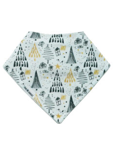 Black + Gold Christmas Tree Bandana Bib