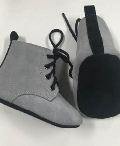 Grey Suede Baby Boots